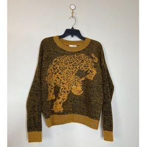 UO Women's Shimmery Leopard Crew Neck Sweater